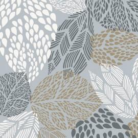 tissus pas cher tissu enduit coton feuilles gris beige. Black Bedroom Furniture Sets. Home Design Ideas