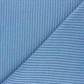 Tissu Maille côtelé Mila - bleuet x 10cm