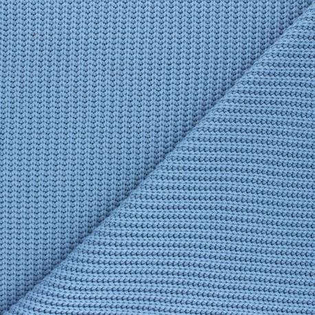 Ribbed knit fabric - bleuet Mila x 10cm