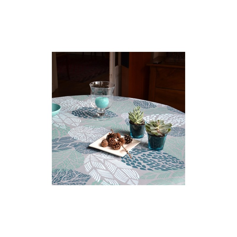 tissus pas cher tissu enduit coton feuilles turquoise. Black Bedroom Furniture Sets. Home Design Ideas