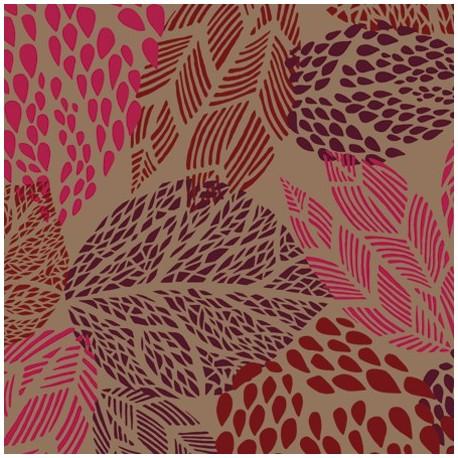tissus pas cher tissu enduit coton feuilles taupe rouge. Black Bedroom Furniture Sets. Home Design Ideas