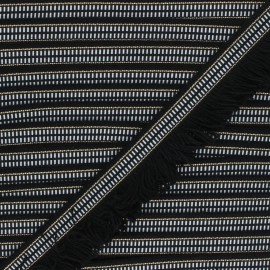 35mm Fringe trimming ribbon - black/white Cléo x1m