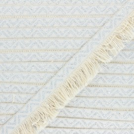 35mm Fringe trimming ribbon - raw/silver Doha x1m