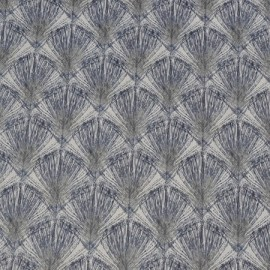 Feathers coated cotton fabric - grey/blue x 10cm
