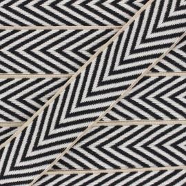 40 mm herringbone Strap - raw/black Amal x 1m