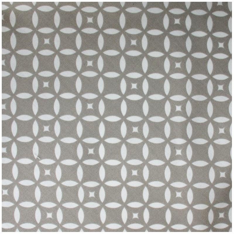 tissus pas cher tissu coton mosa que taupe blanc. Black Bedroom Furniture Sets. Home Design Ideas