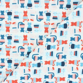 Poplin Cotton Monaluna fabric - Cool Cats Modern Love x 10cm