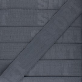 Flat elastic - grey Let's go! x 50cm