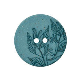 Recycled Hemp Button - Blue Florette