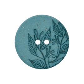 Recycled Hemp Button - Blue Florette