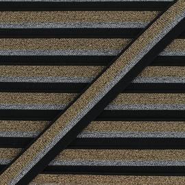 Flat elastic - black Sparkly x 1m