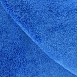 Tissu Doudou uni bleu électrique x10cm