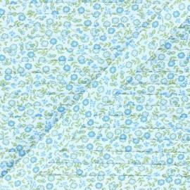 Biais polycoton 18 mm Tendres Fleurs - bleu x 1m