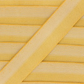 40 mm bicolor Lurex Elastic - Mustard yellow/Silver Party x 50cm