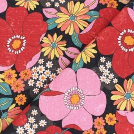 Kokka cotton canvas fabric - pink Jambo Söpö Retro x 10 cm