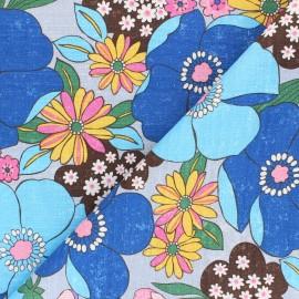 Tissu toile de coton Kokka Söpö Retro Jambo - bleu x 10 cm