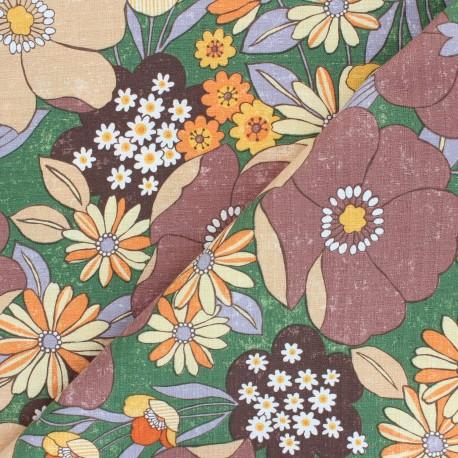 Kokka cotton canvas fabric - brown Jambo Söpö Retro x 10 cm