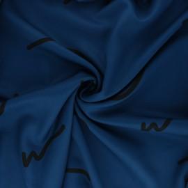 Tissu Mind the Maker Viscose Doodle Lines - Bleu x 10 cm