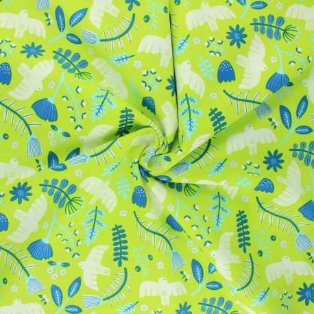 Tissu coton Cotton Steel Marbella - Free as a Bird - Limelight x 10cm
