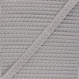 Biais polycoton 18 mm Graphic Leaves - blanc x 1m