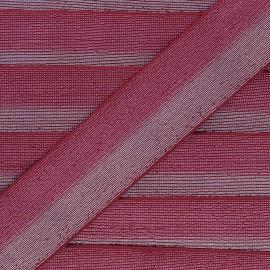 Elastique bicolore Lurex Party 40mm - Rouge/Argent x 50cm