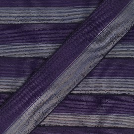 40 mm bicolor Lurex Elastic - Dark purple/Silver Party x 50cm