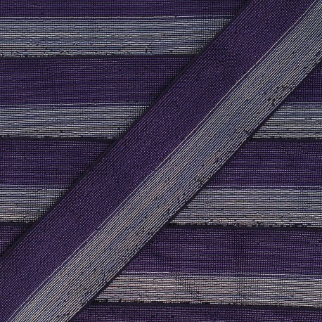 40 mm bicolor Lurex Elastic - Dark purple/Silver Party x 50cm