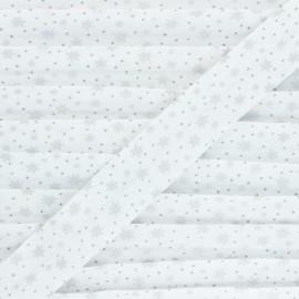 Cotton bias binding - grey Sparkly Stars x 1m