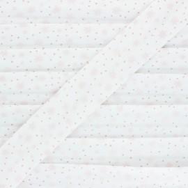 Cotton bias binding - pink Sparkly Stars x 1m