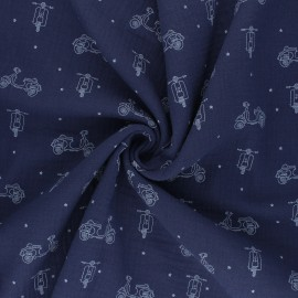 Tissu double gaze de coton Scoot - bleu marine x 10cm