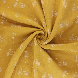 Tissu double gaze de coton Scoot - jaune moutarde x 10cm