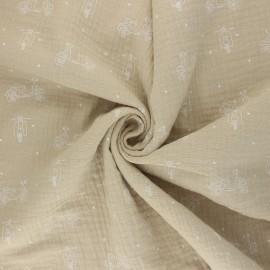 Double cotton gauze fabric - beige Scoot x 10cm