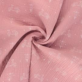 Double cotton gauze fabric - pink Scoot x 10cm