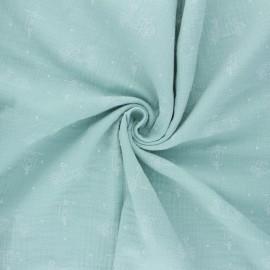 Double cotton gauze fabric - jade green Scoot x 10cm