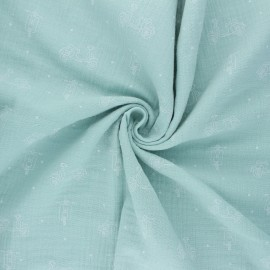 Tissu double gaze de coton Scoot - vert jade x 10cm