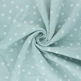 Double cotton gauze fabric - jade green Bees x 10cm