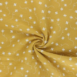 Double cotton gauze fabric - mustard yellow Bees x 10cm
