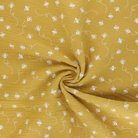 Tissu double gaze de coton Bees - jaune moutarde x 10cm