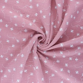 Double cotton gauze fabric - pink Bees x 10cm