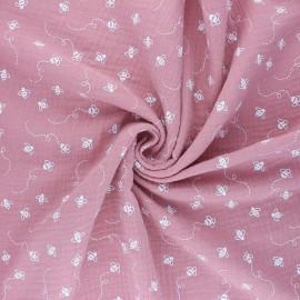 Tissu double gaze de coton Bees - rose x 10cm