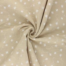 Double cotton gauze fabric - beige Bees x 10cm