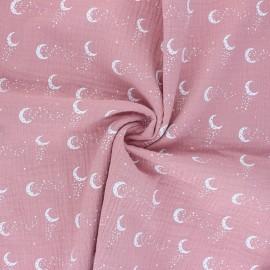 Double cotton gauze fabric - pink Stellar Moon x 10cm