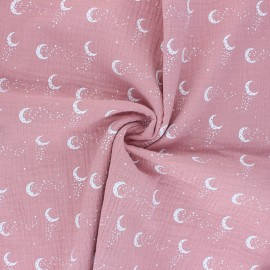 Tissu double gaze de coton Stellar Moon - rose x 10cm
