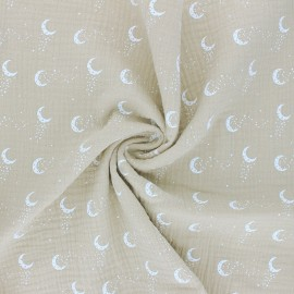 Double cotton gauze fabric - beige Stellar Moon x 10cm