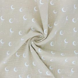 Tissu double gaze de coton Stellar Moon - beige x 10cm