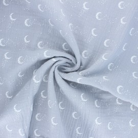 Double cotton gauze fabric - grey Stellar Moon x 10cm
