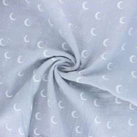 Tissu double gaze de coton Stellar Moon - gris x 10cm