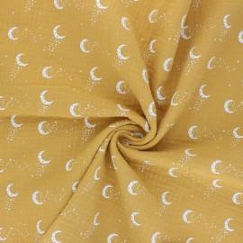 Tissu double gaze de coton Stellar Moon - jaune moutarde x 10cm