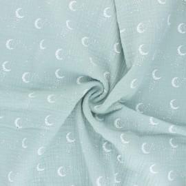 Tissu double gaze de coton Stellar Moon - vert jade x 10cm