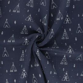 Double cotton gauze fabric - navy blue Tipi x 10cm